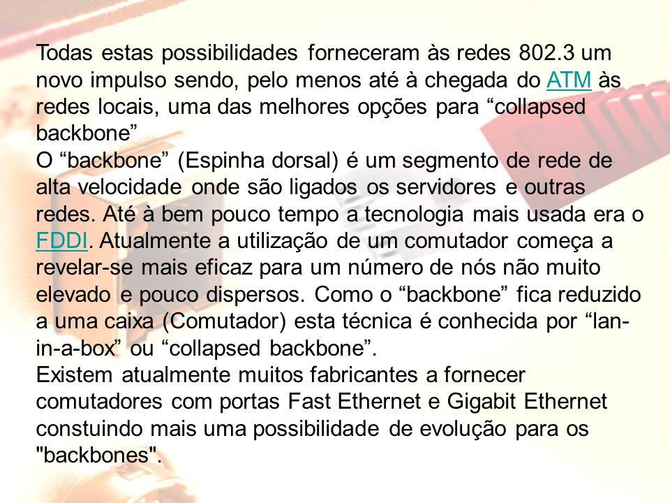 Todas estas possibilidades forneceram às redes 802.3 um novo impulso sendo, pelo menos até à chegada do ATM às redes locais, uma das melhores opções p
