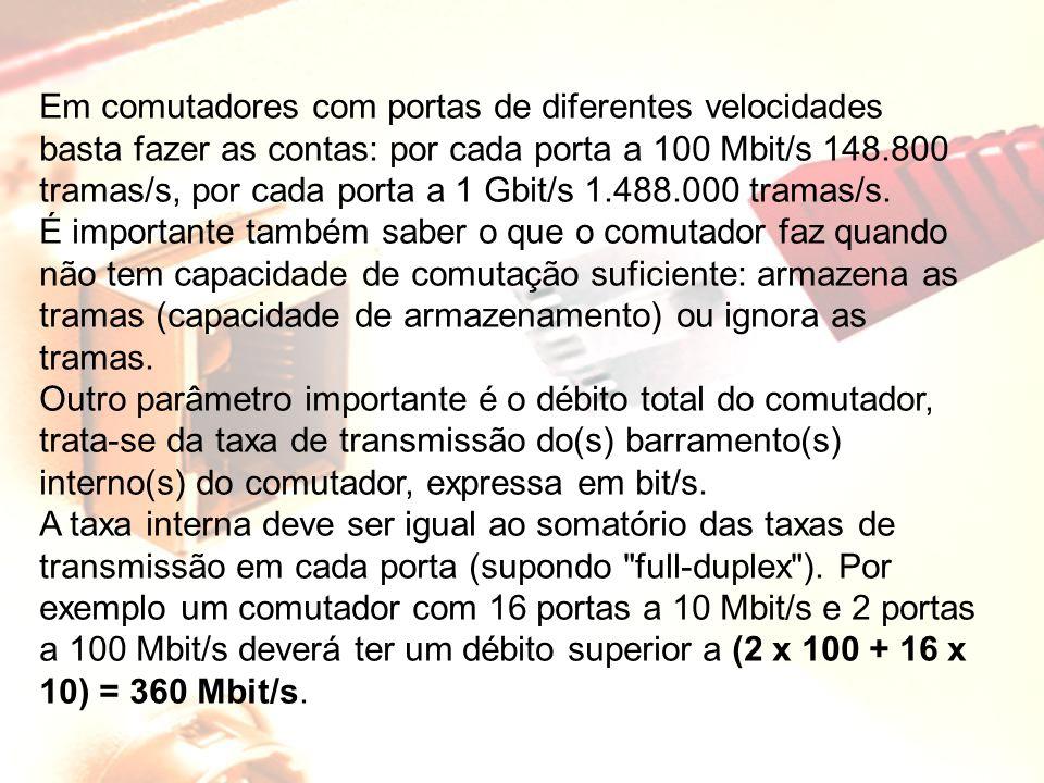 Em comutadores com portas de diferentes velocidades basta fazer as contas: por cada porta a 100 Mbit/s 148.800 tramas/s, por cada porta a 1 Gbit/s 1.4