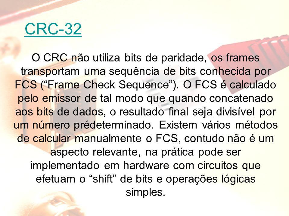 """O CRC não utiliza bits de paridade, os frames transportam uma sequência de bits conhecida por FCS (""""Frame Check Sequence""""). O FCS é calculado pelo emi"""