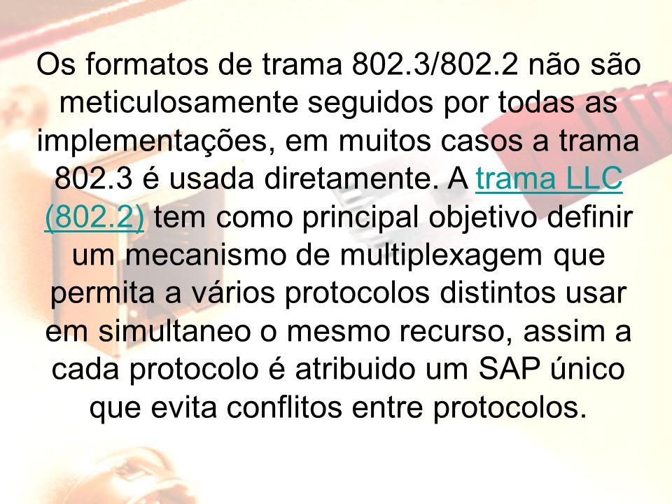 Os formatos de trama 802.3/802.2 não são meticulosamente seguidos por todas as implementações, em muitos casos a trama 802.3 é usada diretamente. A tr