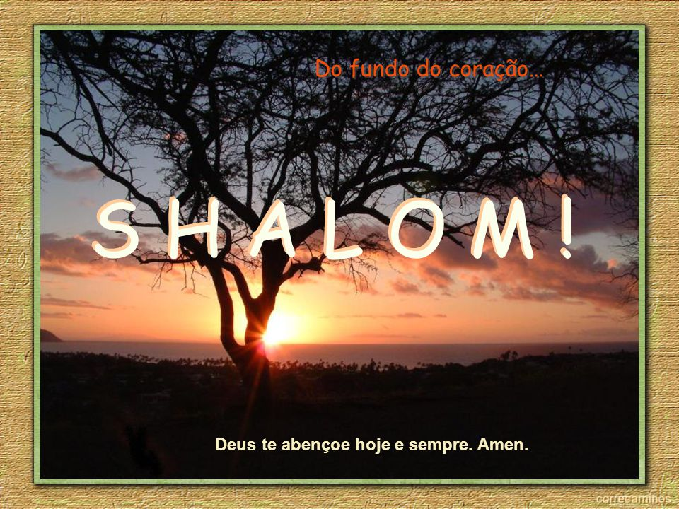 Não deixe de enviar aquele SHALOM àquele/a amigo/a que tanto estima.