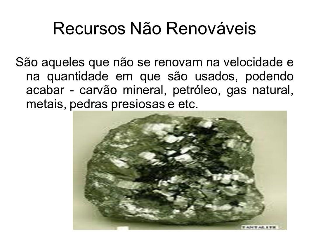 Recursos Não Renováveis São aqueles que não se renovam na velocidade e na quantidade em que são usados, podendo acabar - carvão mineral, petróleo, gas