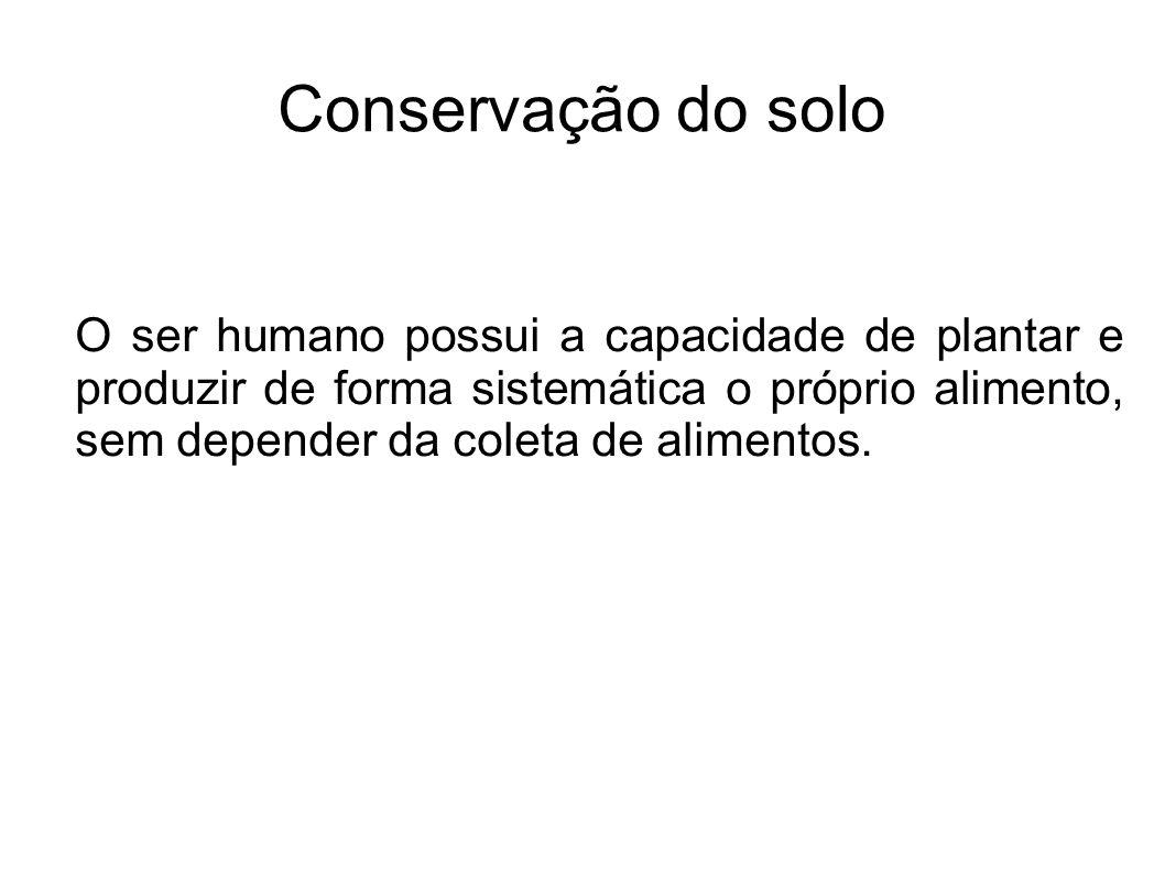 Conservação do solo O ser humano possui a capacidade de plantar e produzir de forma sistemática o próprio alimento, sem depender da coleta de alimento