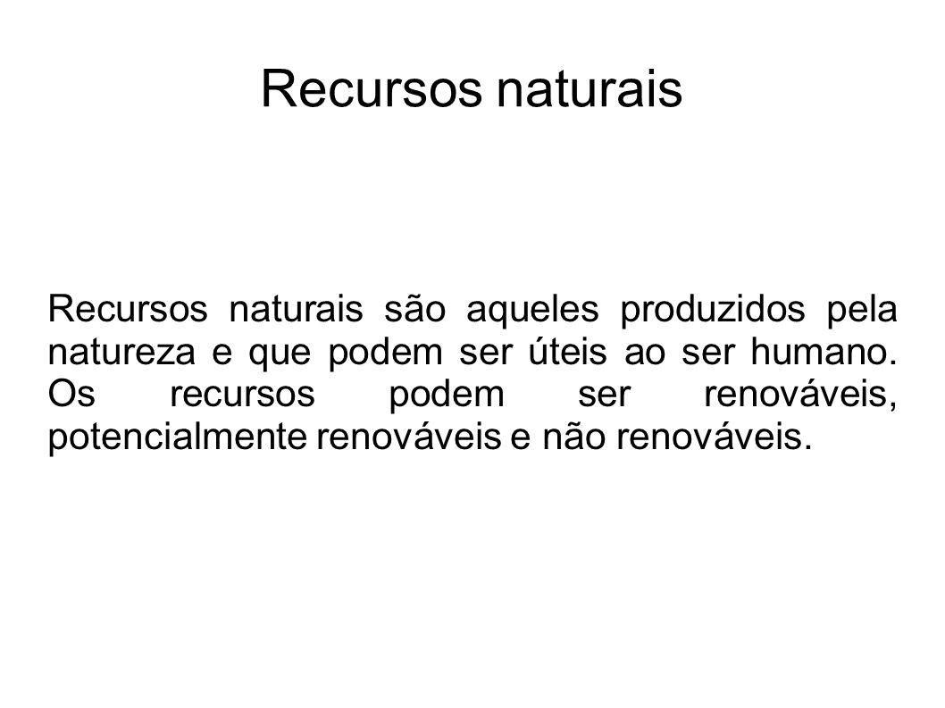 Recursos naturais Recursos naturais são aqueles produzidos pela natureza e que podem ser úteis ao ser humano. Os recursos podem ser renováveis, potenc