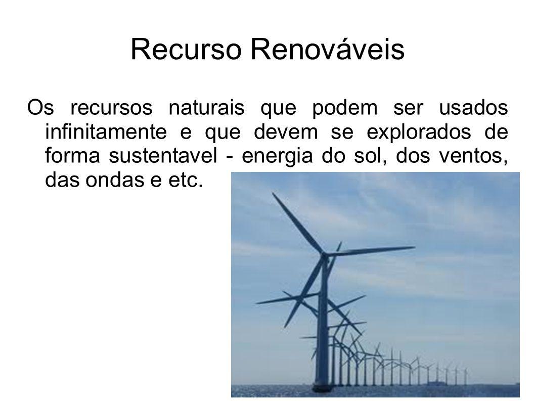 Recurso Renováveis Os recursos naturais que podem ser usados infinitamente e que devem se explorados de forma sustentavel - energia do sol, dos ventos