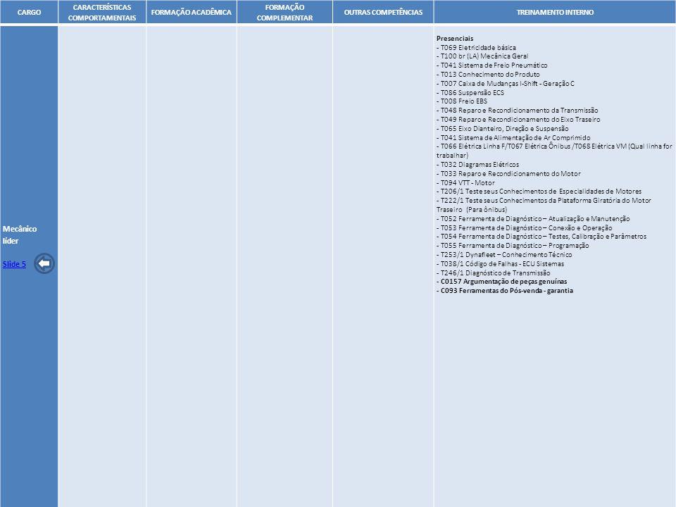 18 CARGO CARACTERÍSTICAS COMPORTAMENTAIS FORMAÇÃO ACADÊMICA FORMAÇÃO COMPLEMENTAR OUTRAS COMPETÊNCIASTREINAMENTO INTERNO Mecânico líder Slide 5 Presen
