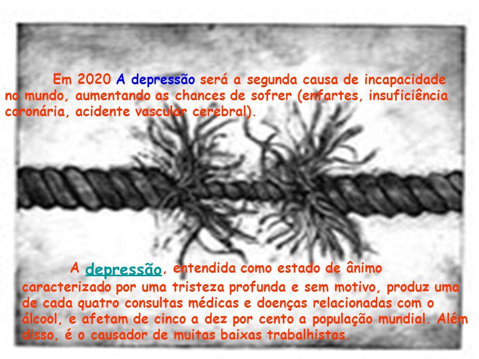 A depressão, entendida como estado de ânimo caracterizado por uma tristeza profunda e sem motivo, produz uma de cada quatro consultas médicas e doenças relacionadas com o álcool, e afetam de cinco a dez por cento a população mundial.
