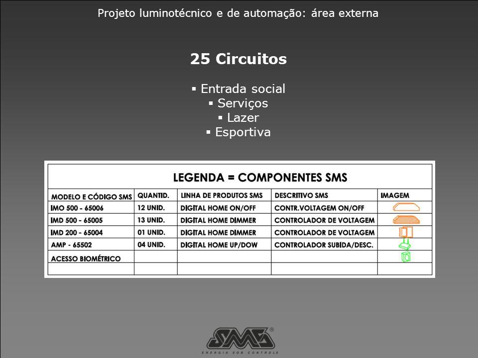25 Circuitos  Entrada social  Serviços  Lazer  Esportiva
