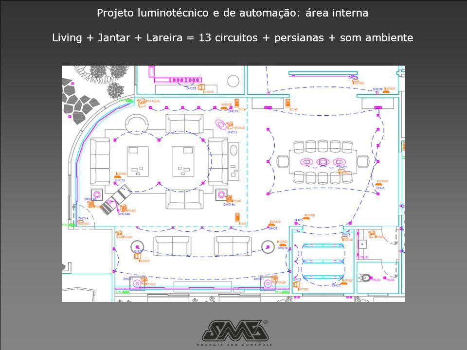 Projeto luminotécnico e de automação: área interna Living + Jantar + Lareira = 13 circuitos + persianas + som ambiente