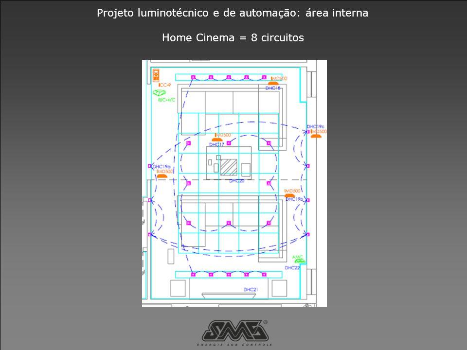 Projeto luminotécnico e de automação: área interna Home Cinema = 8 circuitos