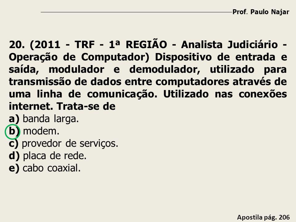 Prof. Paulo Najar Apostila pág. 206 20. (2011 - TRF - 1ª REGIÃO - Analista Judiciário - Operação de Computador) Dispositivo de entrada e saída, modula