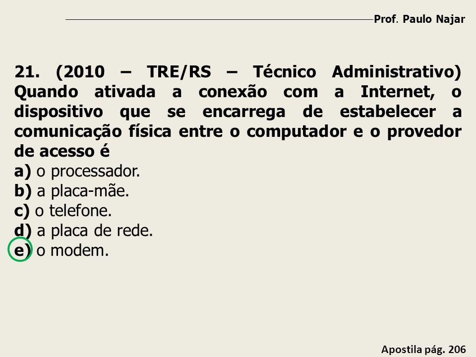 Prof. Paulo Najar Apostila pág. 206 21. (2010 – TRE/RS – Técnico Administrativo) Quando ativada a conexão com a Internet, o dispositivo que se encarre