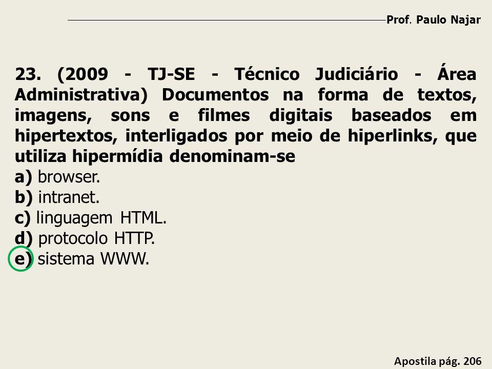 Prof. Paulo Najar Apostila pág. 206 23. (2009 - TJ-SE - Técnico Judiciário - Área Administrativa) Documentos na forma de textos, imagens, sons e filme