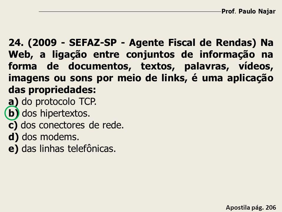 Prof. Paulo Najar Apostila pág. 206 24. (2009 - SEFAZ-SP - Agente Fiscal de Rendas) Na Web, a ligação entre conjuntos de informação na forma de docume