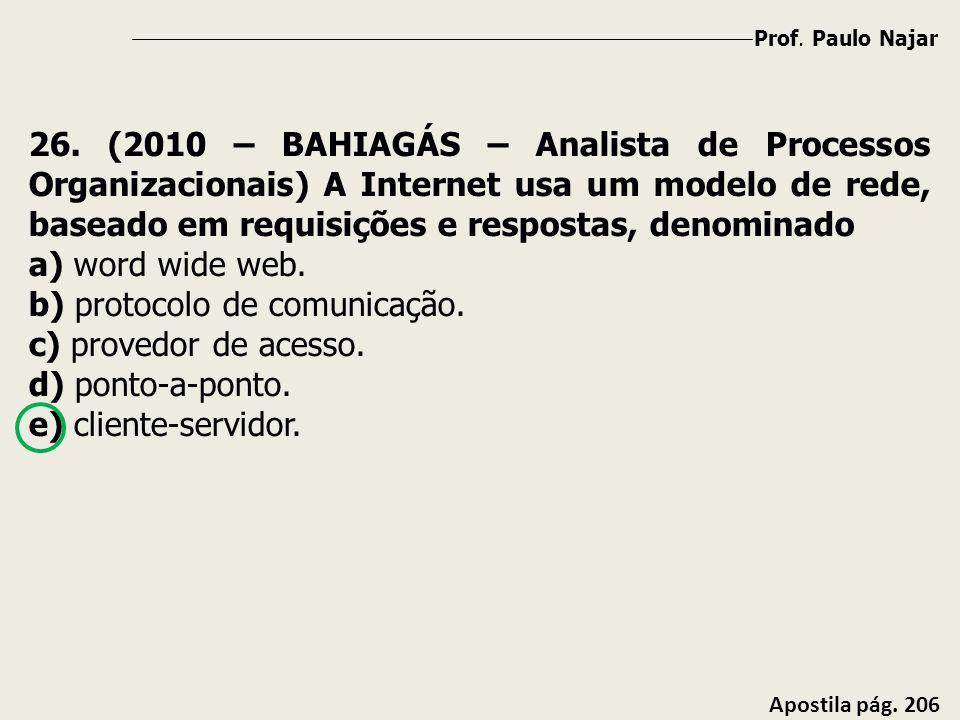 Prof. Paulo Najar Apostila pág. 206 26. (2010 – BAHIAGÁS – Analista de Processos Organizacionais) A Internet usa um modelo de rede, baseado em requisi
