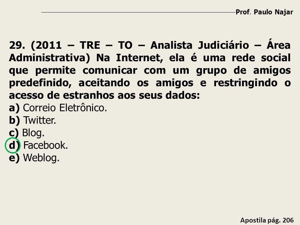 Prof. Paulo Najar Apostila pág. 206 29. (2011 – TRE – TO – Analista Judiciário – Área Administrativa) Na Internet, ela é uma rede social que permite c
