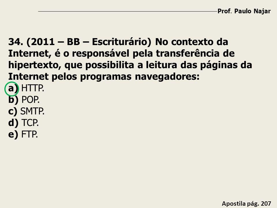 Prof. Paulo Najar Apostila pág. 207 34. (2011 – BB – Escriturário) No contexto da Internet, é o responsável pela transferência de hipertexto, que poss