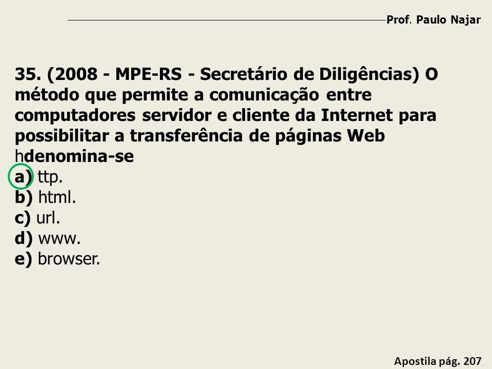 Prof. Paulo Najar Apostila pág. 207 35. (2008 - MPE-RS - Secretário de Diligências) O método que permite a comunicação entre computadores servidor e c