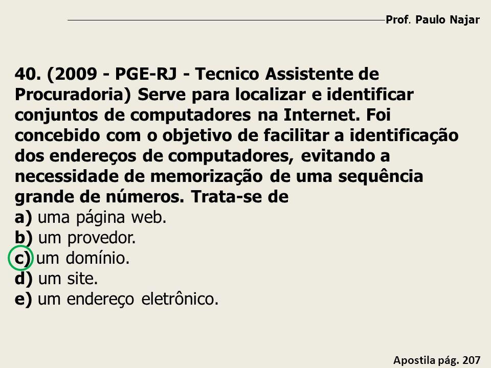 Prof. Paulo Najar Apostila pág. 207 40. (2009 - PGE-RJ - Tecnico Assistente de Procuradoria) Serve para localizar e identificar conjuntos de computado