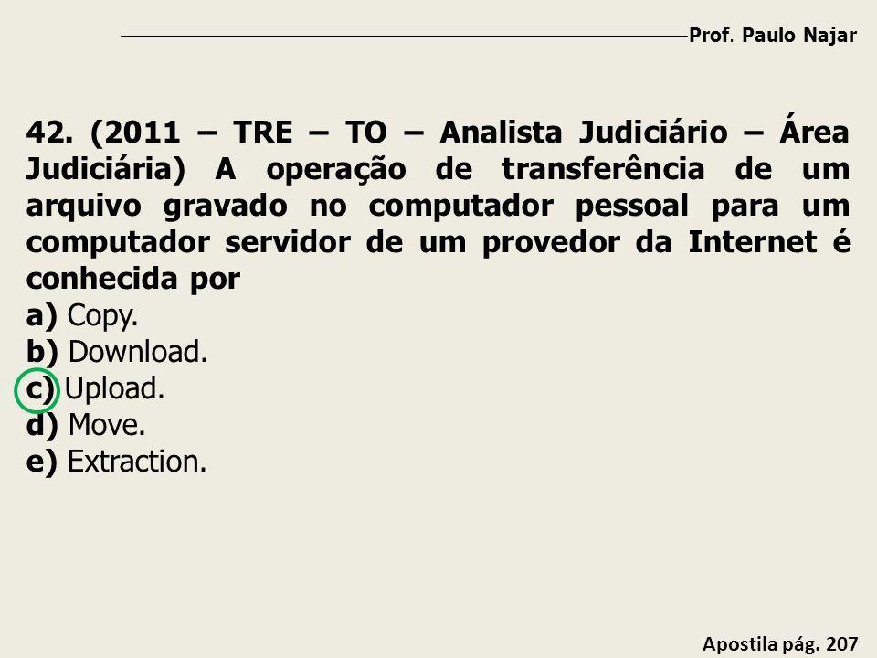 Prof. Paulo Najar Apostila pág. 207 42. (2011 – TRE – TO – Analista Judiciário – Área Judiciária) A operação de transferência de um arquivo gravado no