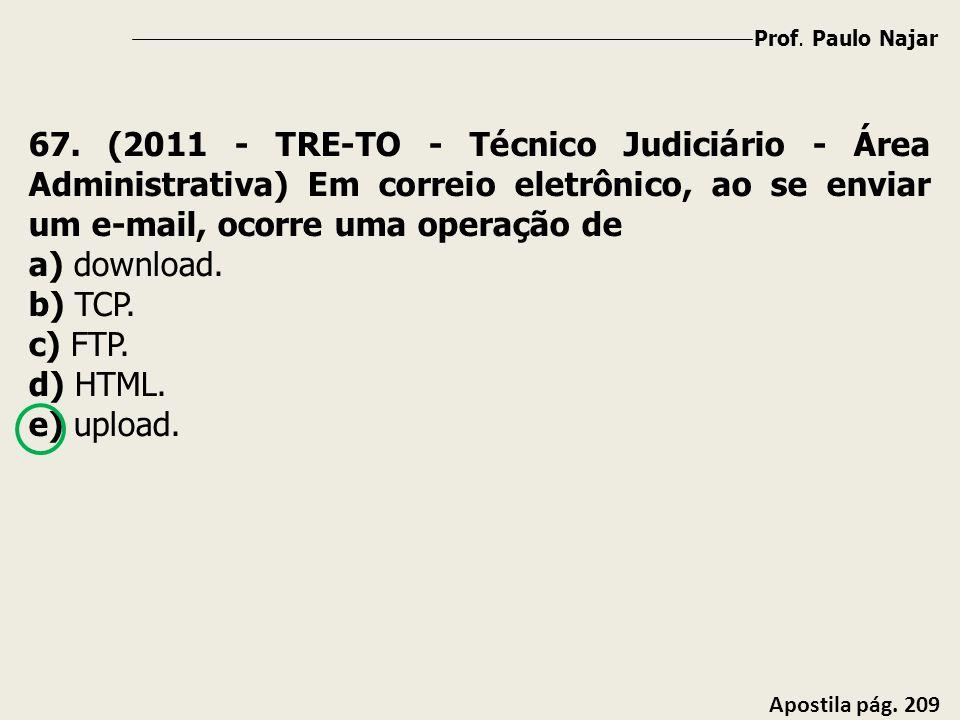 Prof. Paulo Najar Apostila pág. 209 67. (2011 - TRE-TO - Técnico Judiciário - Área Administrativa) Em correio eletrônico, ao se enviar um e-mail, ocor