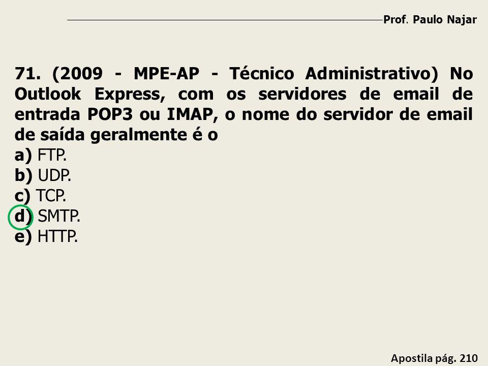 Prof. Paulo Najar Apostila pág. 210 71. (2009 - MPE-AP - Técnico Administrativo) No Outlook Express, com os servidores de email de entrada POP3 ou IMA