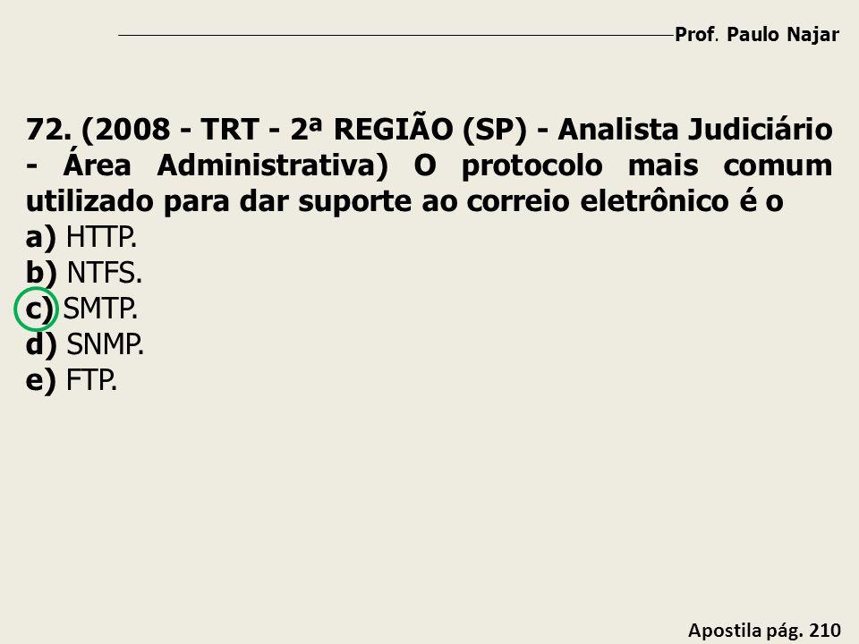 Prof. Paulo Najar Apostila pág. 210 72. (2008 - TRT - 2ª REGIÃO (SP) - Analista Judiciário - Área Administrativa) O protocolo mais comum utilizado par