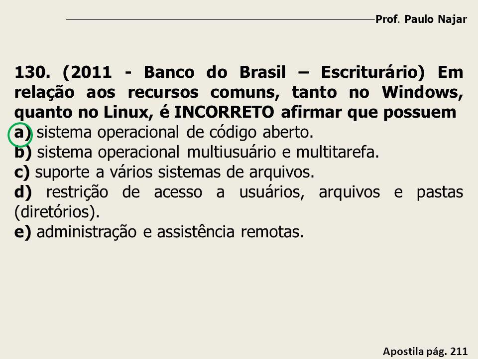 Prof. Paulo Najar Apostila pág. 211 130. (2011 - Banco do Brasil – Escriturário) Em relação aos recursos comuns, tanto no Windows, quanto no Linux, é