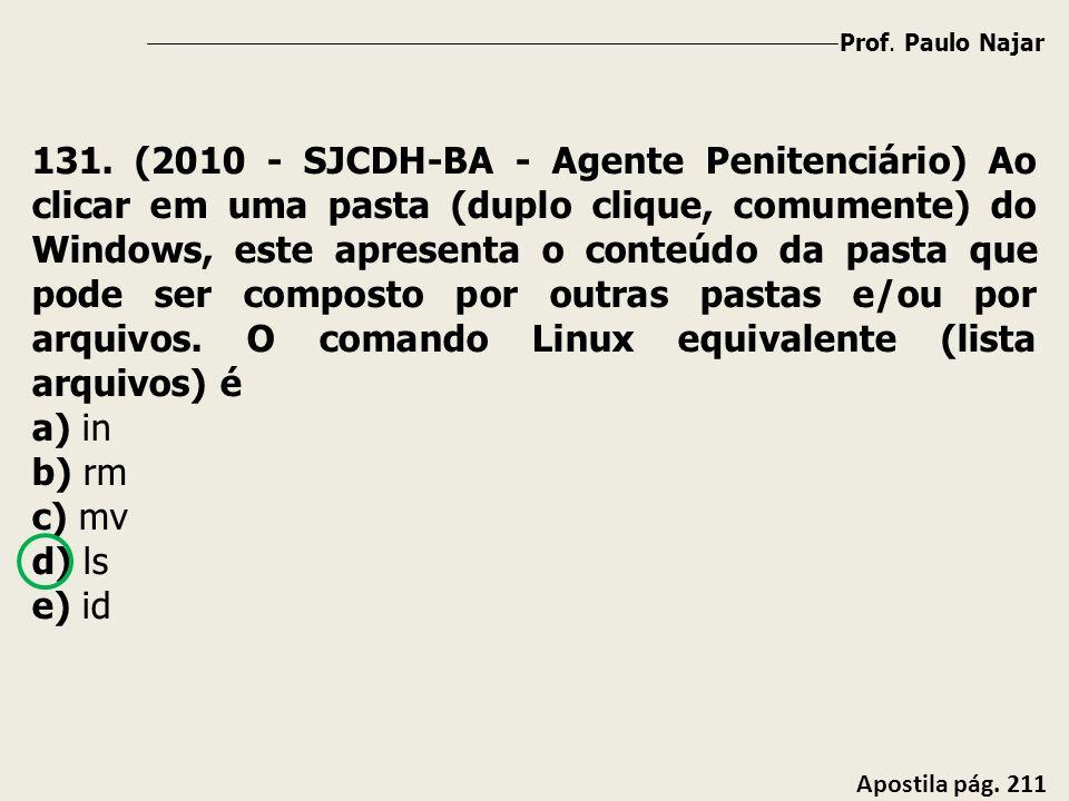 Prof. Paulo Najar Apostila pág. 211 131. (2010 - SJCDH-BA - Agente Penitenciário) Ao clicar em uma pasta (duplo clique, comumente) do Windows, este ap