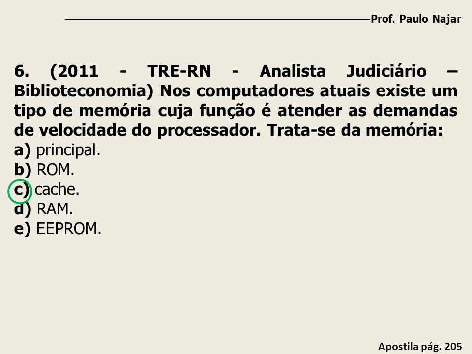 Prof. Paulo Najar Apostila pág. 205 6. (2011 - TRE-RN - Analista Judiciário – Biblioteconomia) Nos computadores atuais existe um tipo de memória cuja