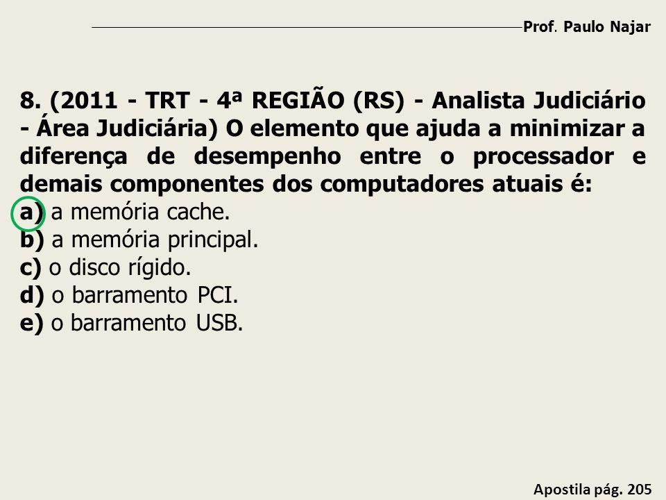 Prof. Paulo Najar Apostila pág. 205 8. (2011 - TRT - 4ª REGIÃO (RS) - Analista Judiciário - Área Judiciária) O elemento que ajuda a minimizar a difere