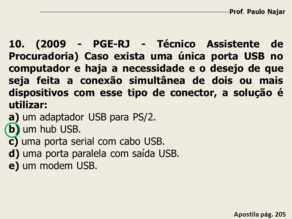 Prof. Paulo Najar Apostila pág. 205 10. (2009 - PGE-RJ - Técnico Assistente de Procuradoria) Caso exista uma única porta USB no computador e haja a ne