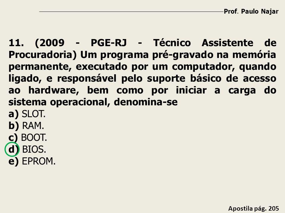 Prof. Paulo Najar Apostila pág. 205 11. (2009 - PGE-RJ - Técnico Assistente de Procuradoria) Um programa pré-gravado na memória permanente, executado