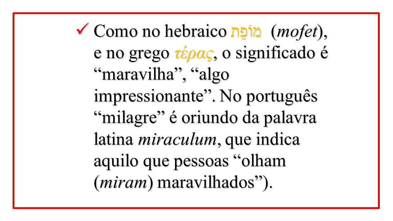 """Como no hebraico מוֹפֵת (mofet), e no grego τέρας, o significado é """"maravilha"""", """"algo impressionante"""". No português """"milagre"""" é oriundo da palavra lat"""