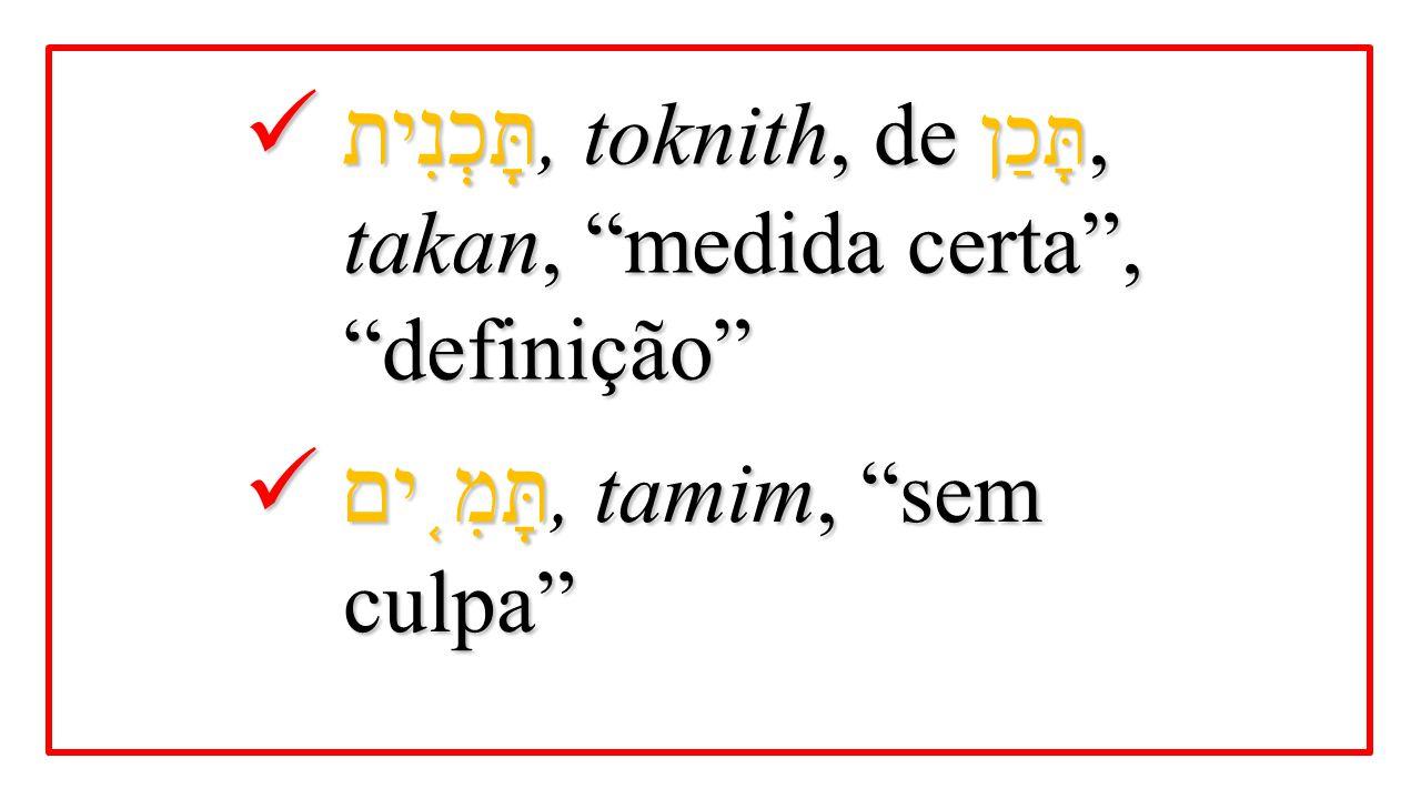 """תָּכְנִית, toknith, de תָּכַן, takan, """"medida certa"""", """"definição"""" תָּכְנִית, toknith, de תָּכַן, takan, """"medida certa"""", """"definição"""" תָּמִ ֤ ים, tamim,"""