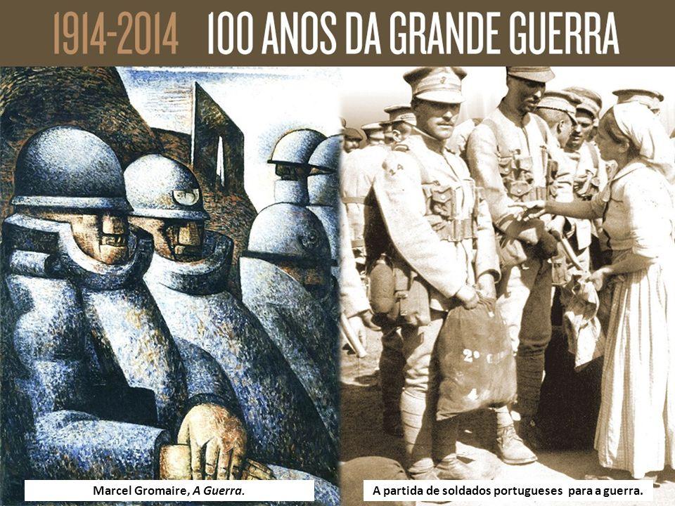 Marcel Gromaire, A Guerra.A partida de soldados portugueses para a guerra.