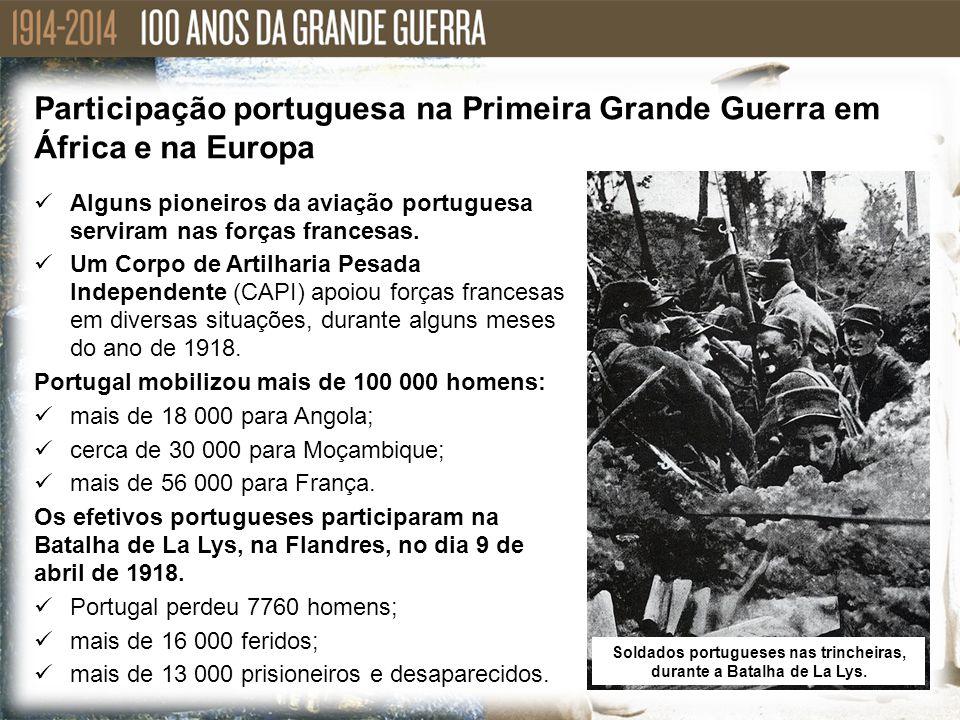 Alguns pioneiros da aviação portuguesa serviram nas forças francesas. Um Corpo de Artilharia Pesada Independente (CAPI) apoiou forças francesas em div