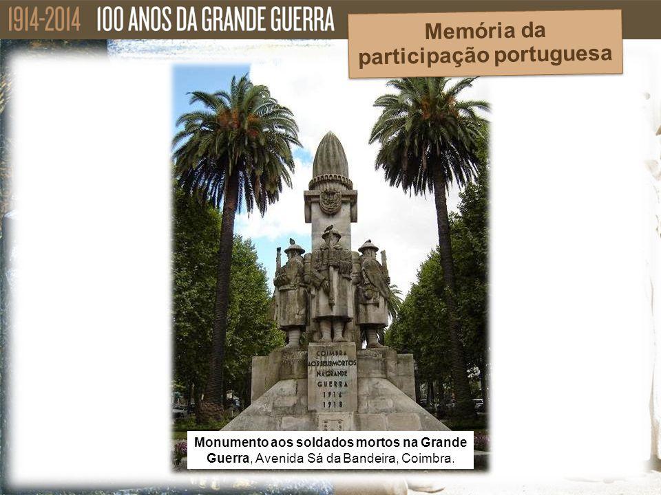 Monumento aos soldados mortos na Grande Guerra, Avenida Sá da Bandeira, Coimbra. Memória da participação portuguesa