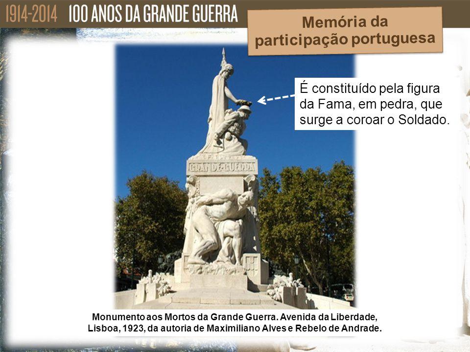É constituído pela figura da Fama, em pedra, que surge a coroar o Soldado. Monumento aos Mortos da Grande Guerra. Avenida da Liberdade, Lisboa, 1923,