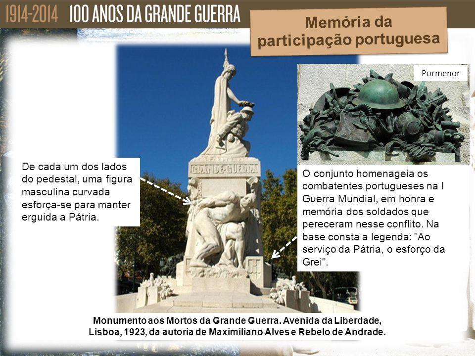 De cada um dos lados do pedestal, uma figura masculina curvada esforça-se para manter erguida a Pátria. Monumento aos Mortos da Grande Guerra. Avenida