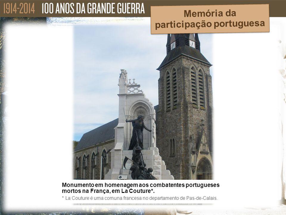 Monumento em homenagem aos combatentes portugueses mortos na França, em La Couture*. * La Couture é uma comuna francesa no departamento de Pas-de-Cala