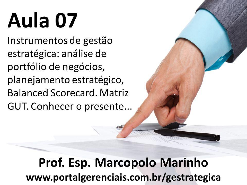 Aula 07 Instrumentos de gestão estratégica: análise de portfólio de negócios, planejamento estratégico, Balanced Scorecard. Matriz GUT. Conhecer o pre