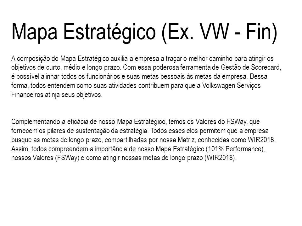 Mapa Estratégico (Ex. VW - Fin) A composição do Mapa Estratégico auxilia a empresa a traçar o melhor caminho para atingir os objetivos de curto, médio