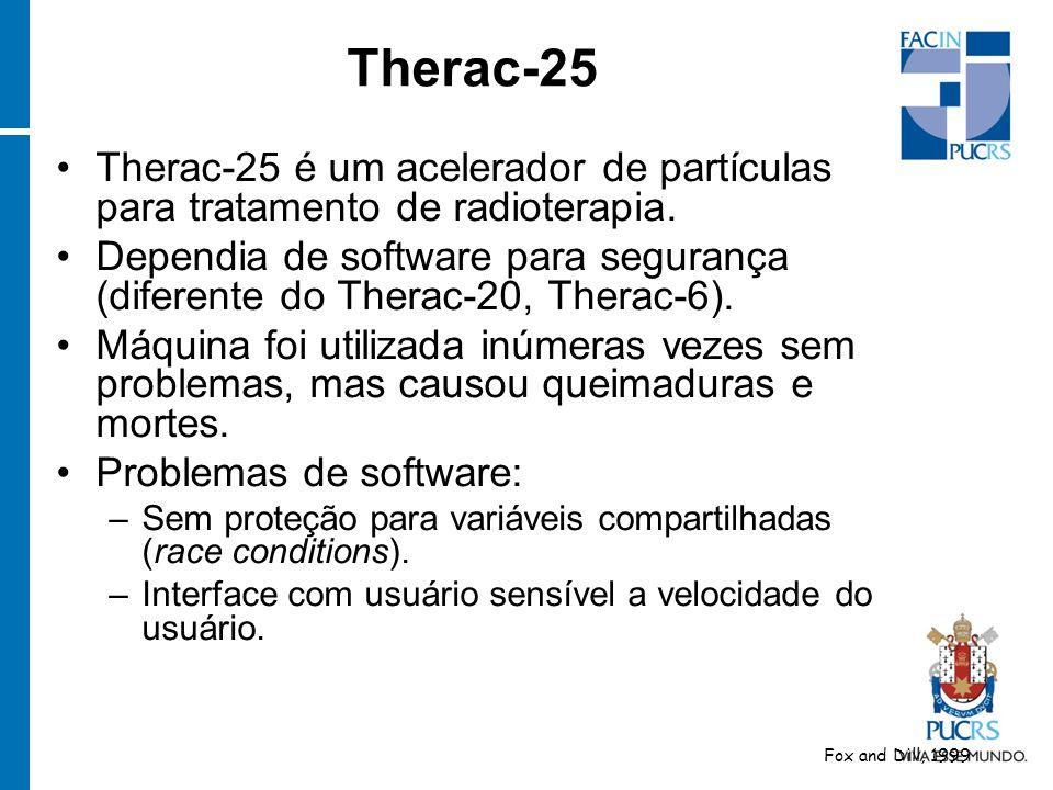 Therac-25 é um acelerador de partículas para tratamento de radioterapia. Dependia de software para segurança (diferente do Therac-20, Therac-6). Máqui