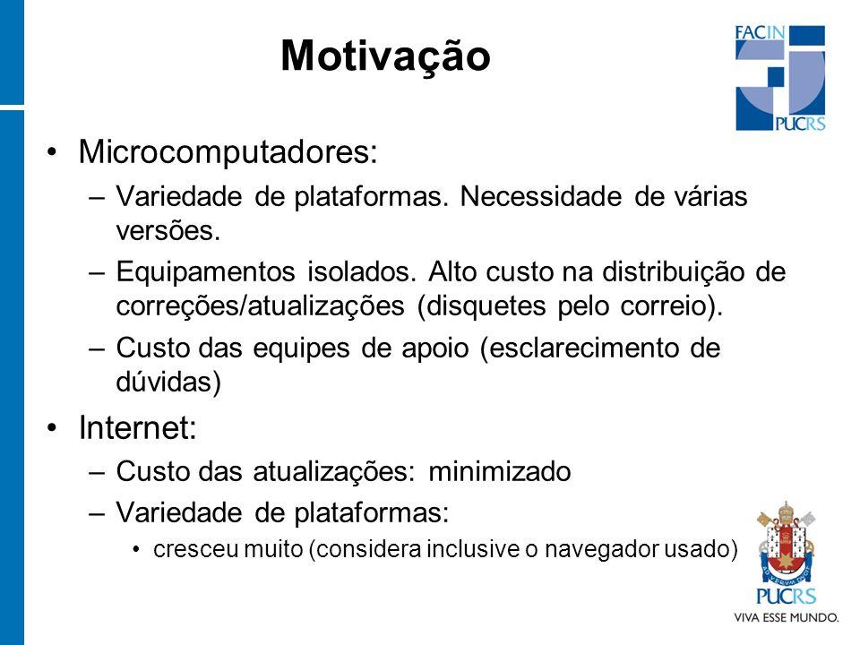 Motivação Microcomputadores: –Variedade de plataformas. Necessidade de várias versões. –Equipamentos isolados. Alto custo na distribuição de correções