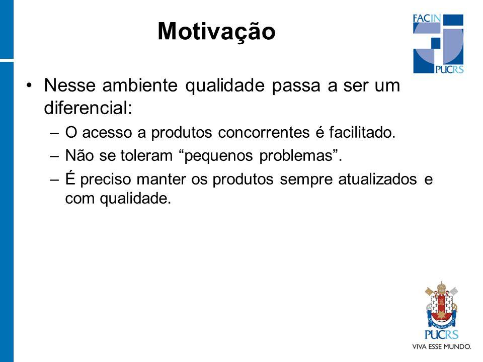 Motivação Nesse ambiente qualidade passa a ser um diferencial: –O acesso a produtos concorrentes é facilitado.