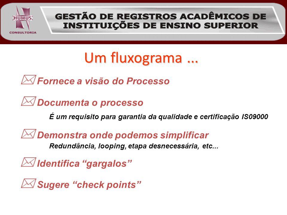 Um fluxograma...  Fornece a visão do Processo  Documenta o processo É um requisito para garantia da qualidade e certificação IS09000  Demonstra ond