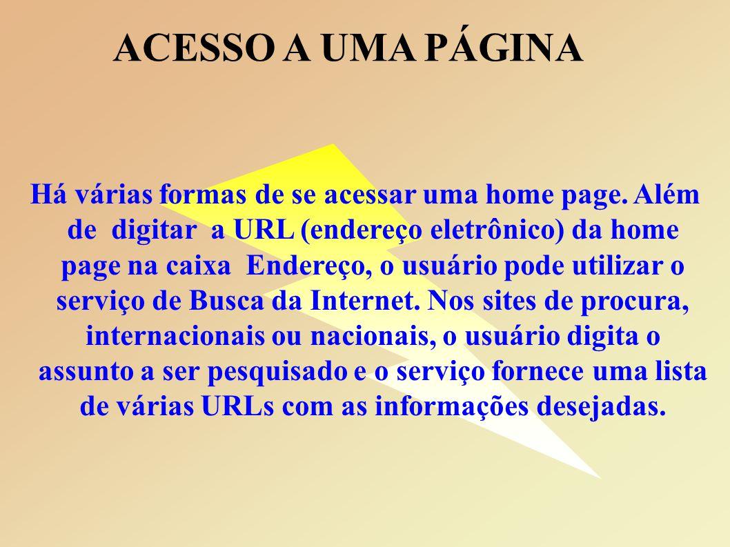 ACESSO A UMA PÁGINA Há várias formas de se acessar uma home page.