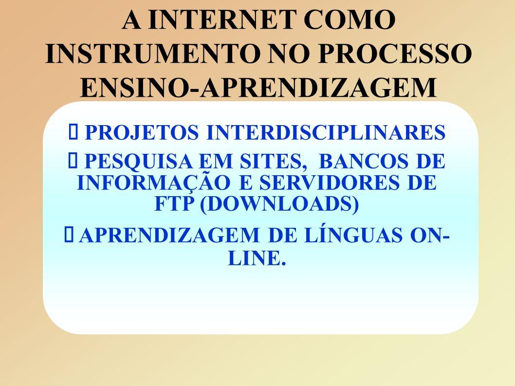 A INTERNET COMO INSTRUMENTO NO PROCESSO ENSINO-APRENDIZAGEM  PROJETOS INTERDISCIPLINARES  PESQUISA EM SITES, BANCOS DE INFORMAÇÃO E SERVIDORES DE FTP (DOWNLOADS)  APRENDIZAGEM DE LÍNGUAS ON- LINE.