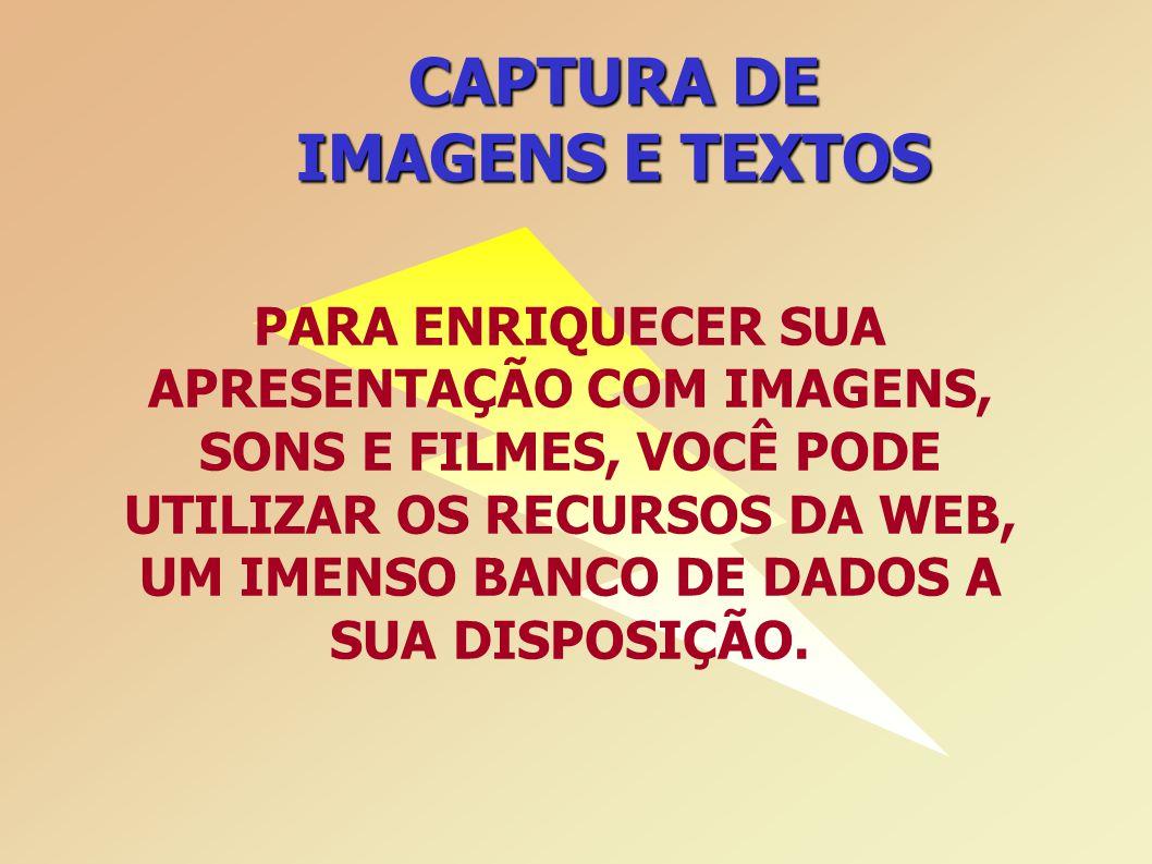 CAPTURA DE IMAGENS E TEXTOS PARA ENRIQUECER SUA APRESENTAÇÃO COM IMAGENS, SONS E FILMES, VOCÊ PODE UTILIZAR OS RECURSOS DA WEB, UM IMENSO BANCO DE DADOS A SUA DISPOSIÇÃO.